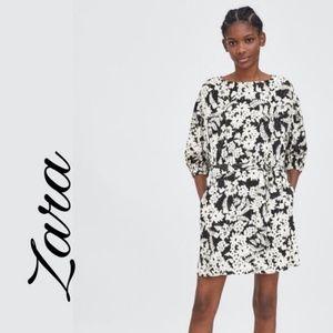 Zara Floral Black/White Dress NWOT